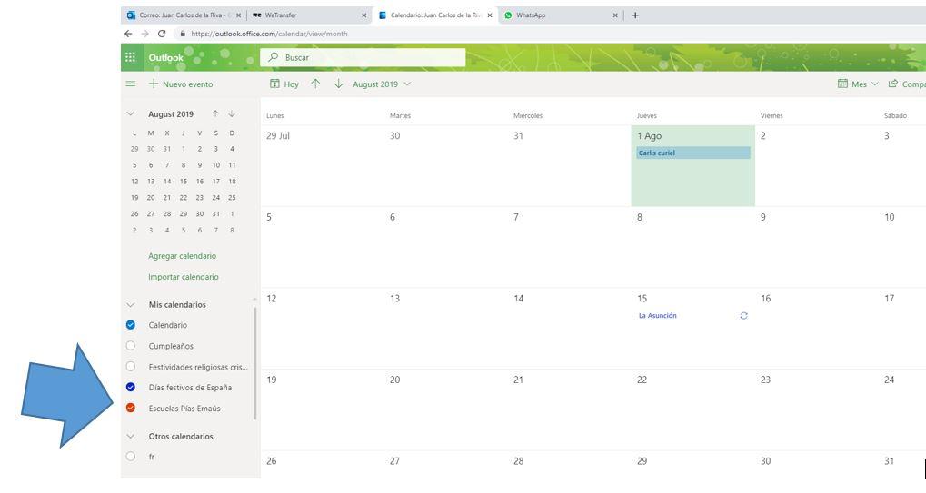 Calendario 20-21 Escuelas Pías Emaús compartido en Outlook