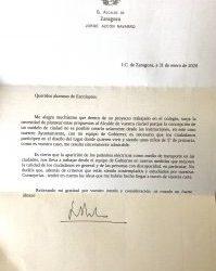 Respuesta Alcalde de Zaragoza al cole