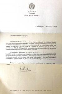Respuesta Alcalde de Zaragoza al cole>ZARAGOZA ESCUELAS PÍAS